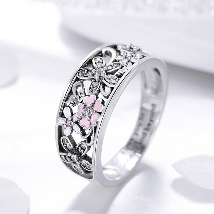 Inel argint lat cu flori de cires japonez Infinit Love 4