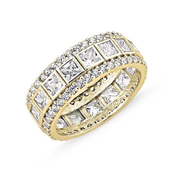 Inel argint lat placat cu aur, cu zirconii - Eternity 0
