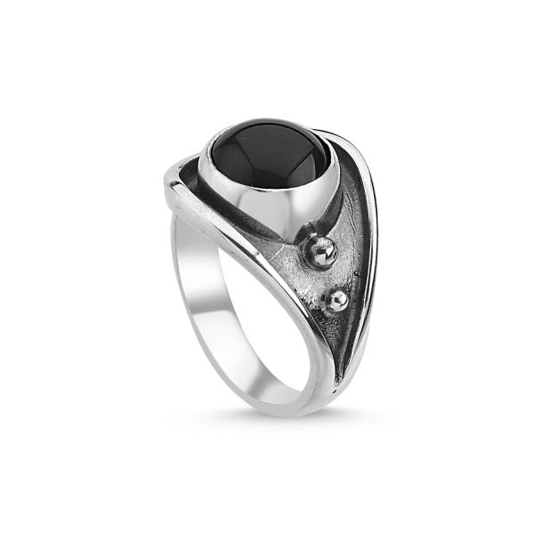 Inel argint lucrat manual, cu onix, reglabil [0]