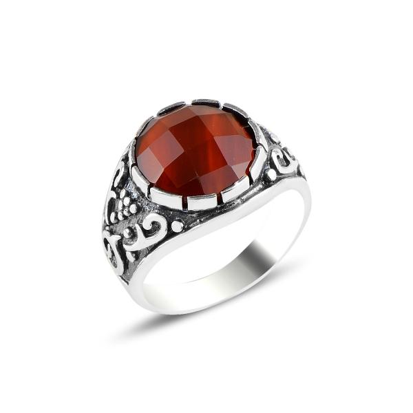 Inel argint oxidat cu model anatolian si rubin de laborator [0]
