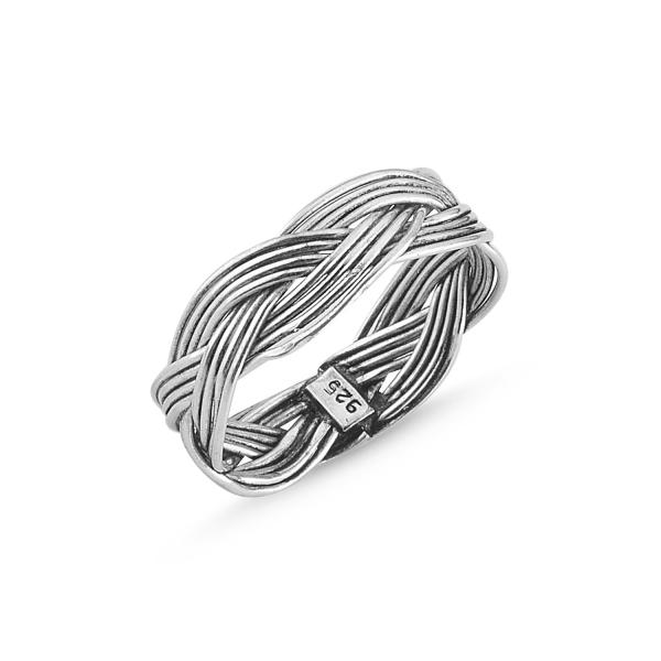 Inel argint oxidat cu model impletit 0