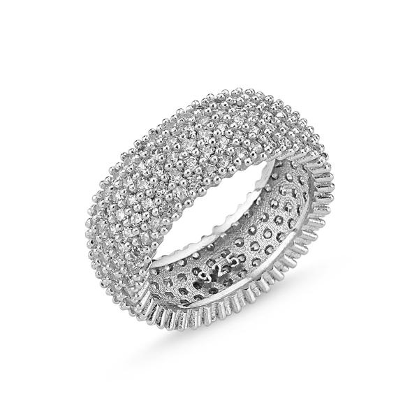 Inel argint placat cu rodiu cu 5 randuri de zirconii - Eternity 0