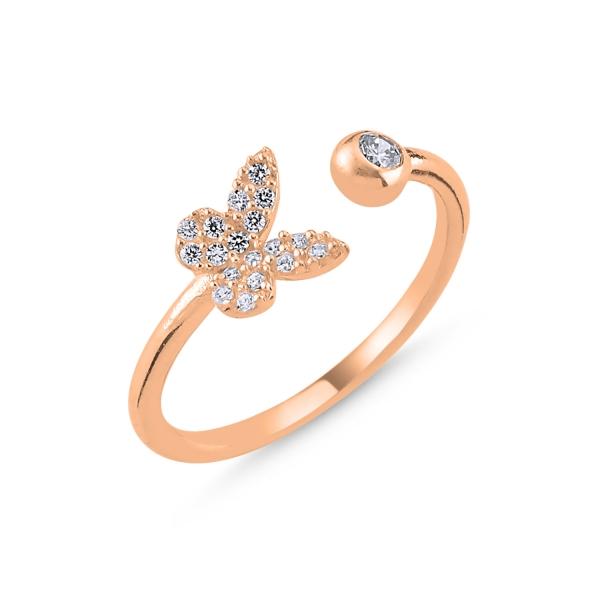 Inel argint reglabil Butterfly cu zirconii albe, placat cu aur roz [0]
