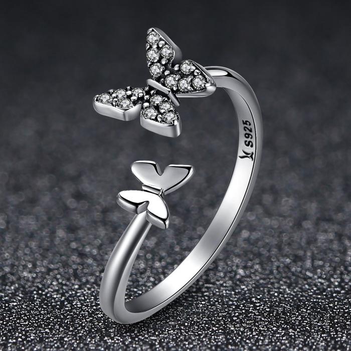 Inel argint reglabil cu fluturasi si cristale [5]