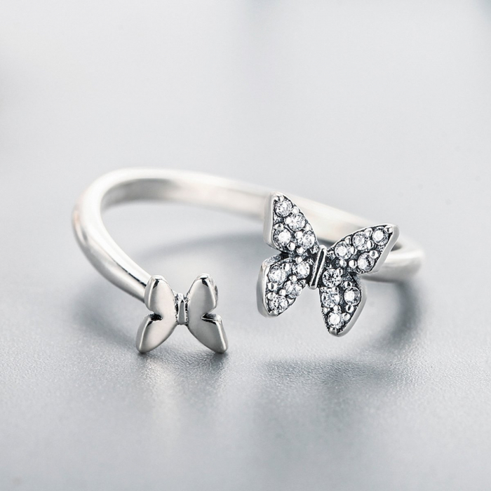 Inel argint reglabil cu fluturasi si cristale [1]