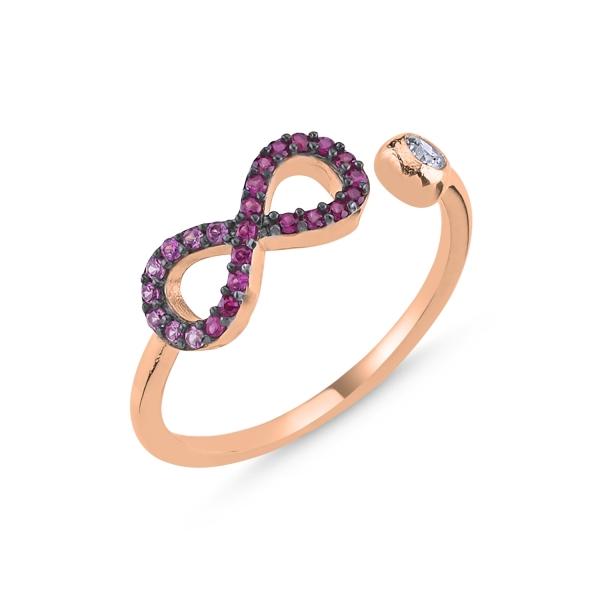 Inel argint reglabil cu infinit si zirconii in nuante de roz, placat cu aur roz [0]