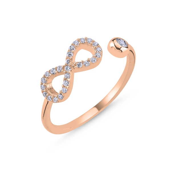 Inel argint reglabil cu Infinit si zirconii, placat cu aur roz [0]