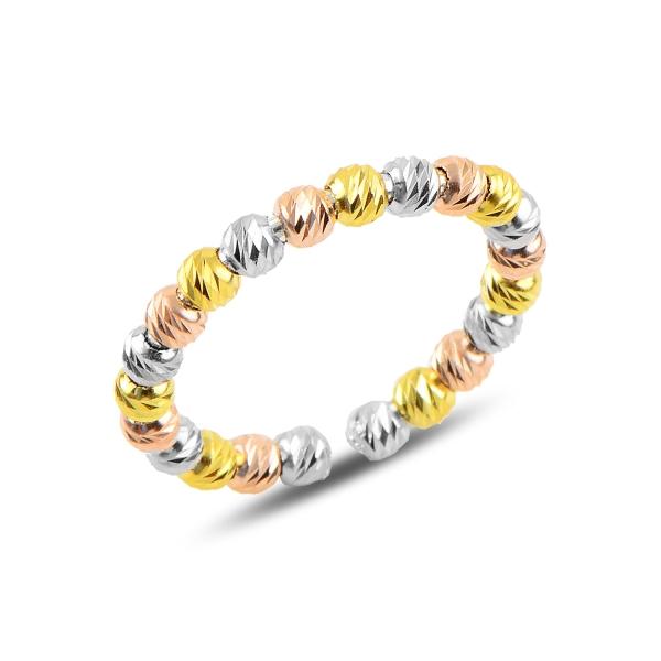 Inel argint reglabil cu margele taiate tip diamant, placat cu rodiu [0]