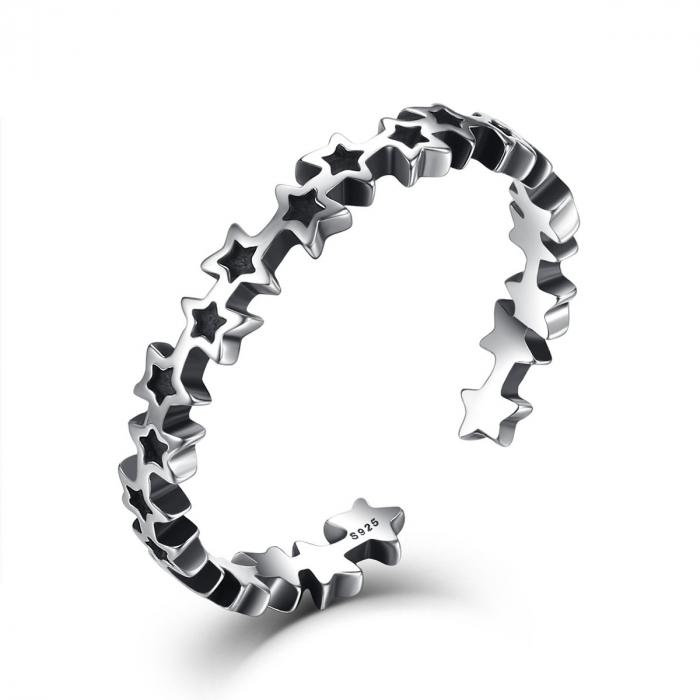 Inel argint reglabil cu stelute [0]