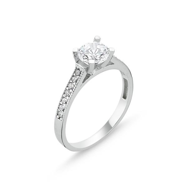 Inel argint Solitaire cu zirconii albe placat cu rodiu - ITU0223 0