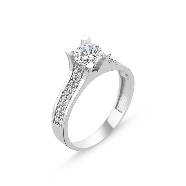 Inel argint Solitaire cu zirconii albe placat cu rodiu - ITU0224 0