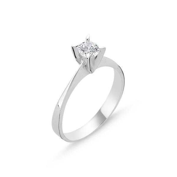 Inel argint Solitaire cu zirconiu alb, placat cu rodiu [0]