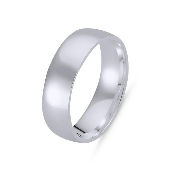 Inel argint tip verigheta simplă de 6 mm latime, placat cu rodiu [0]