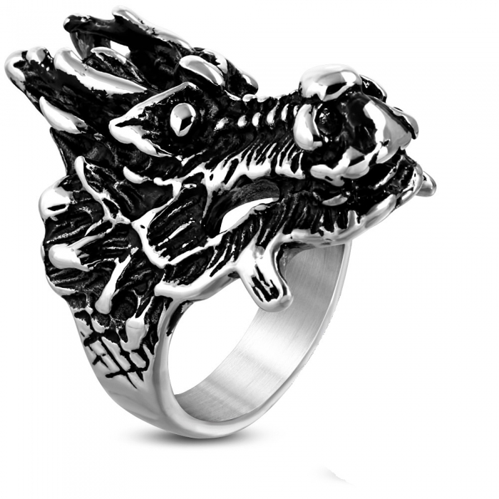 Inel Biker din inox cu dragon - Be Fantastic 0