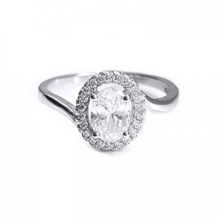 Inel elegant argint 925 rodiat cu zirconii [0]