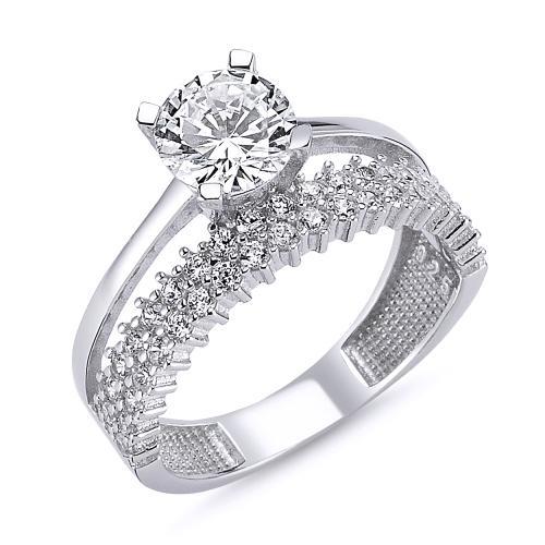 Inel elegant argint 925 rodiat cu zirconii albe 0