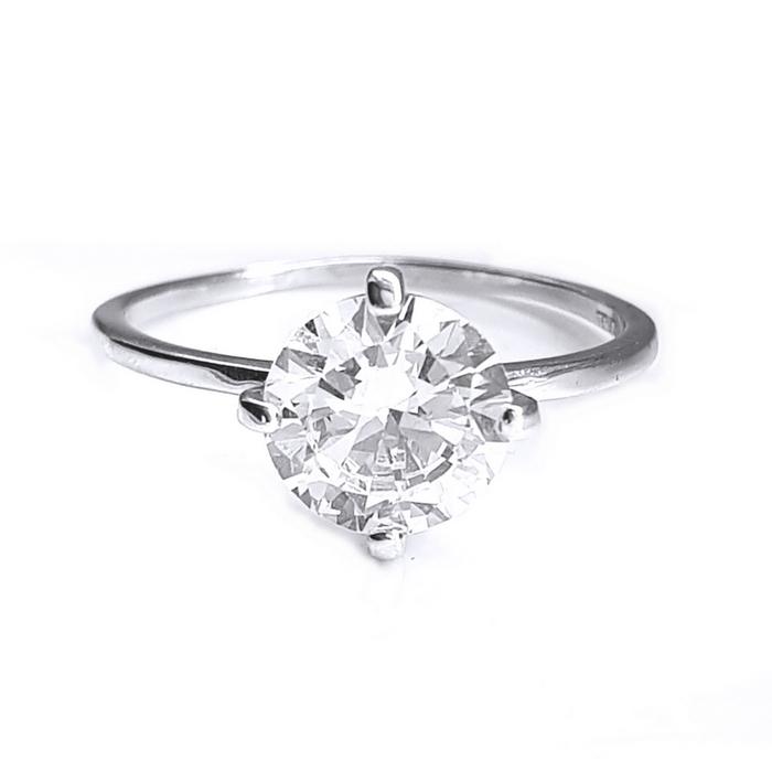 Inel elegant argint 925 rodiat cu zirconiu alb 1