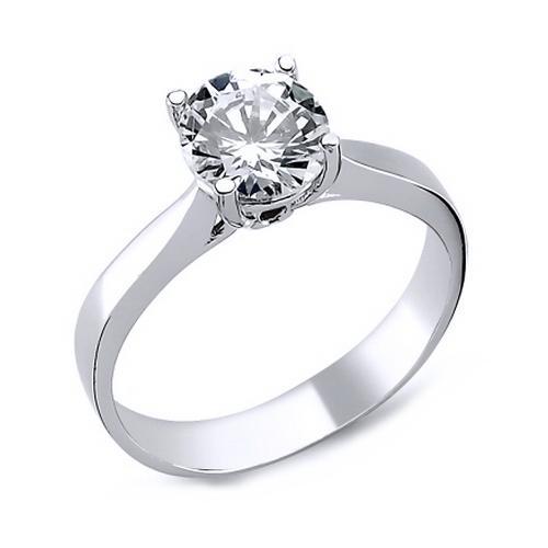 Inel elegant argint 925 rodiat cu zirconiu alb [0]