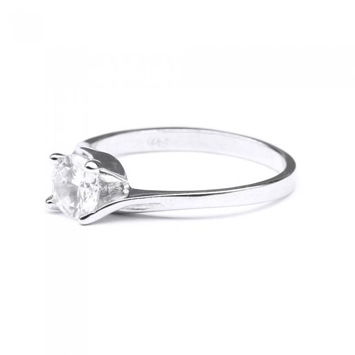 Inel elegant din argint 925 rodiat cu zirconiu rotund [1]