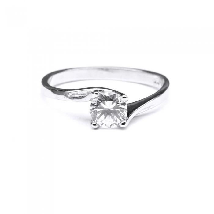 Inel elegant din argint 925 rodiat cu zirconiu rotund [0]