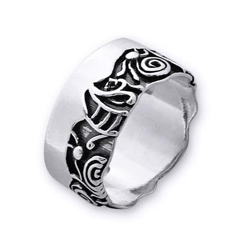Inel elegant din argint 925 lucrat manual cu simboluri - Be Nature [0]