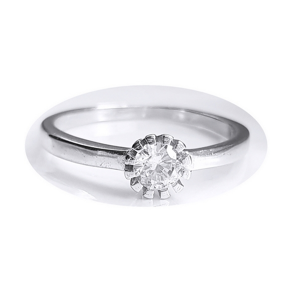 Inel floare din argint 925 rodiat cu zirconiu alb 0
