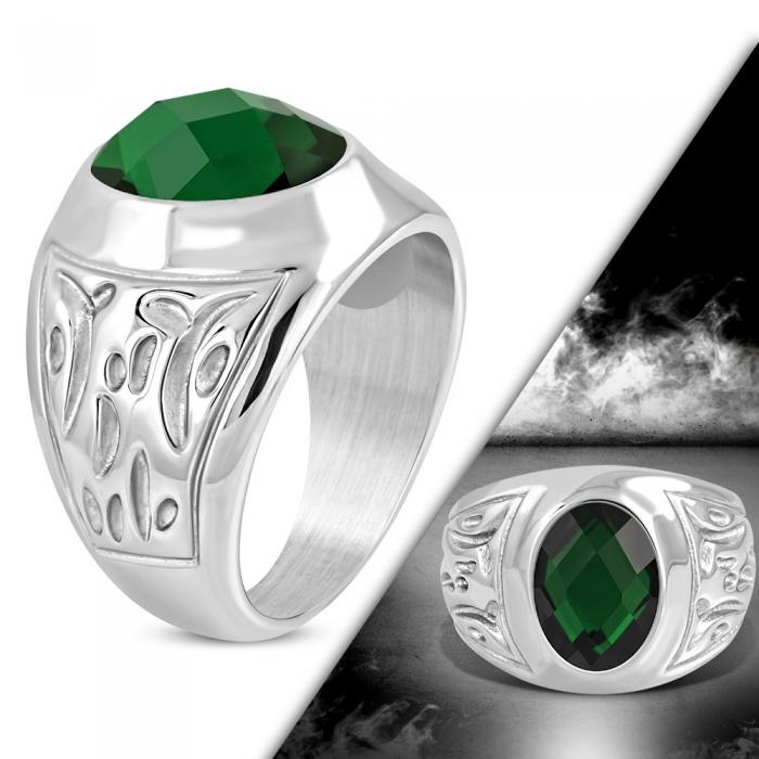 Inel inox cu piatra verde ovala ISL1075 0