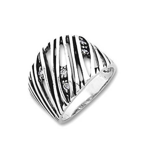 Inel lat din argint 925 lucrat manual cu zirconii albe [0]