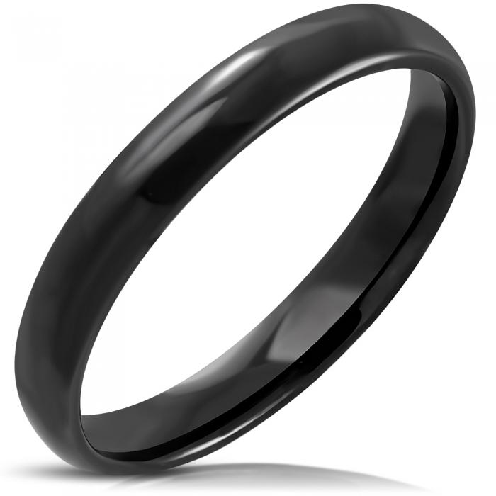 Inel negru din inox 0