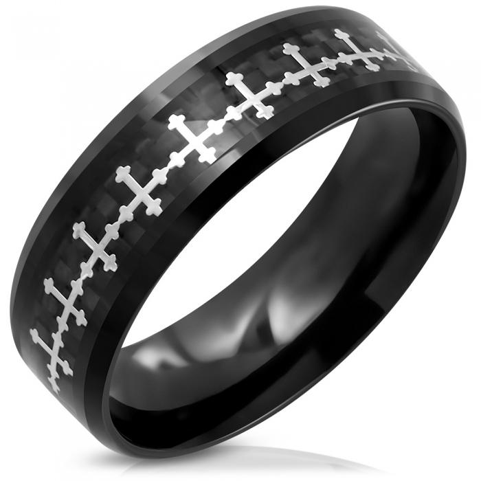 Inel negru din inox cu cruciulite 0