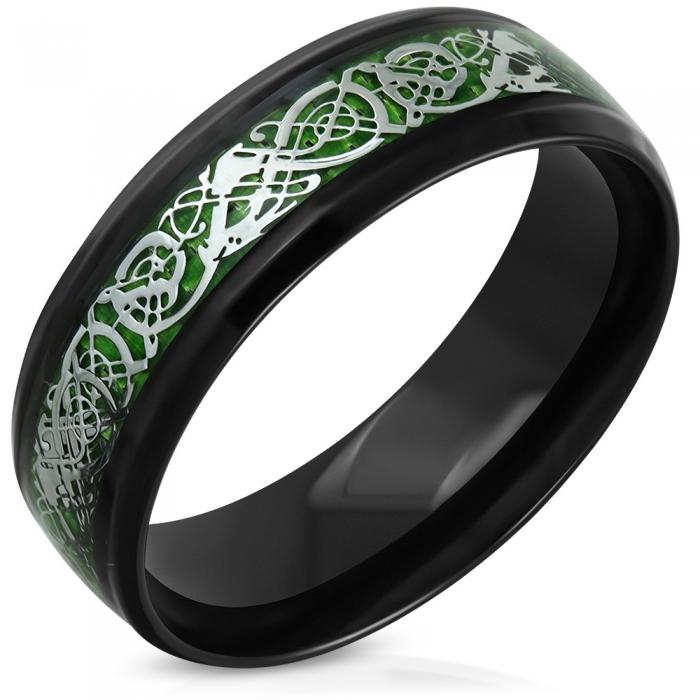 Inel negru din inox cu dragoni si motive celtice 0