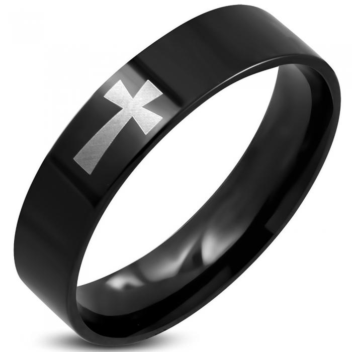 Inel negru din inox decorat cu cruce 0