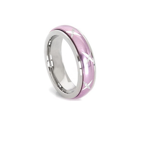 Inel inox roz antistres cu cruciulite - stelute 0