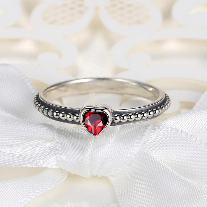 Inel placat cu argint cu inimioara rosie IST0003 4