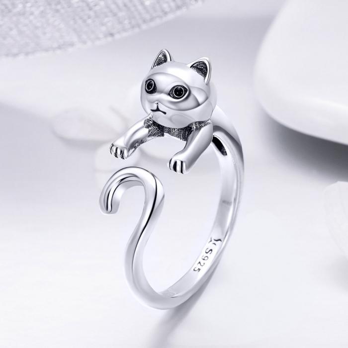 Inel reglabil argint 925 cu pisicuta - Be Nature IST0060 1