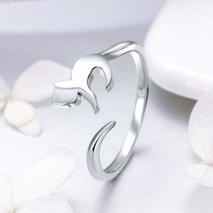 Inel reglabil argint 925 cu pisicuta - Be Nature IST0063 1