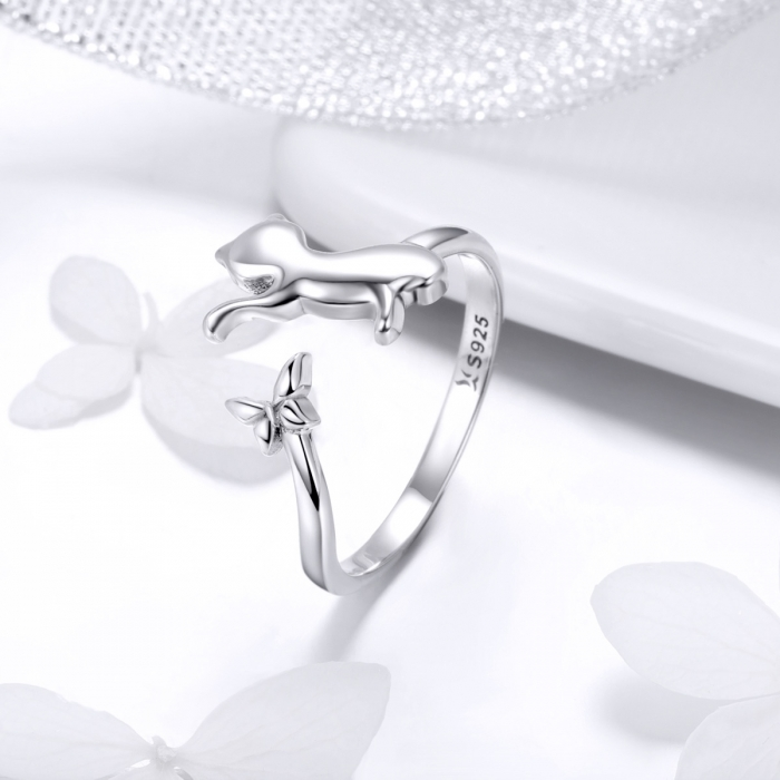 Inel reglabil argint 925 cu pisicuta si fluturas - Be Nature IST0066 [1]