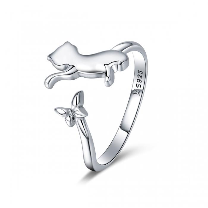 Inel reglabil argint 925 cu pisicuta si fluturas - Be Nature IST0066 [0]