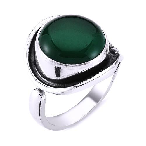 Inel reglabil argint 925 lucrat manual cu agat verde [1]