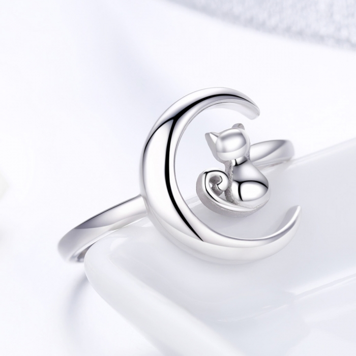 Inel reglabil argint 925 rodiat cu semiluna si pisicuta - Be Nature IST0069 3
