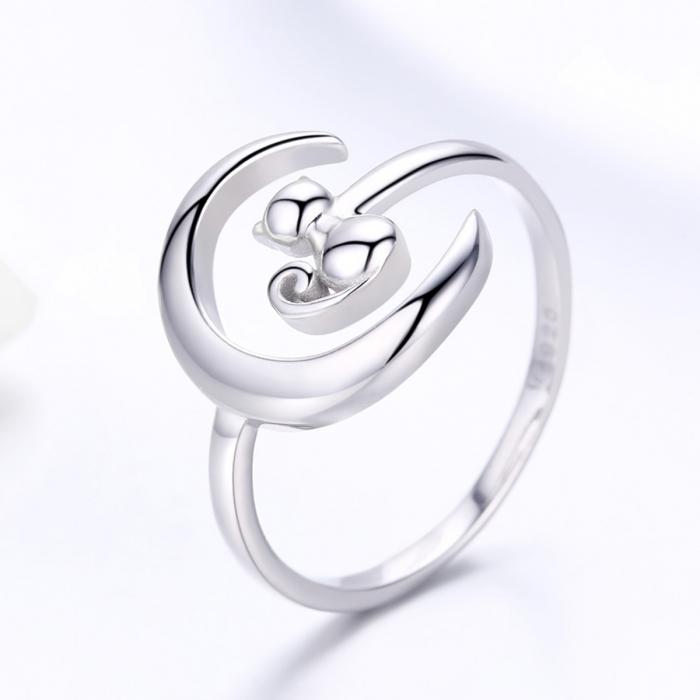 Inel reglabil argint 925 rodiat cu semiluna si pisicuta - Be Nature IST0069 1