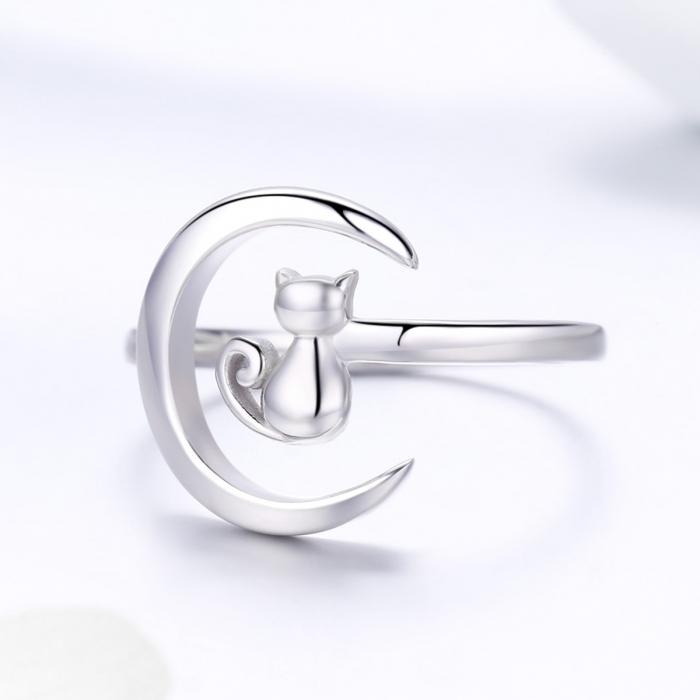 Inel reglabil argint 925 rodiat cu semiluna si pisicuta - Be Nature IST0069 2