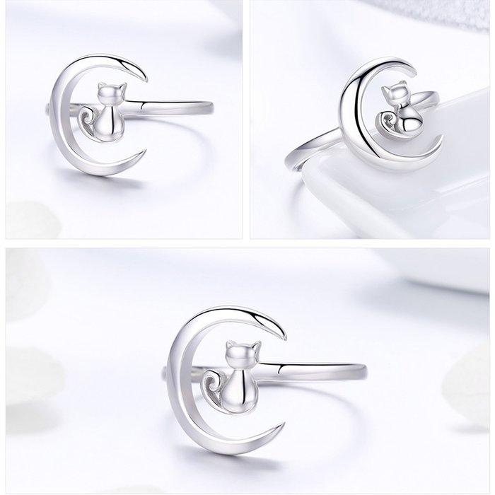 Inel reglabil argint 925 rodiat cu semiluna si pisicuta - Be Nature IST0069 5
