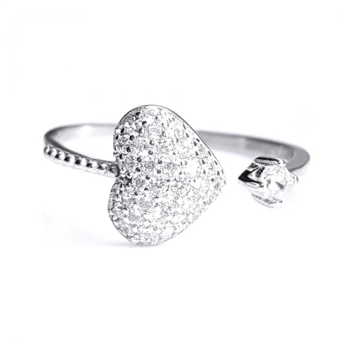 Inel reglabil argint 925 rodiat inimioara cu zirconii albe INE0799 0