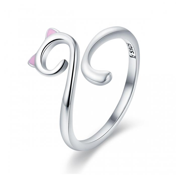 Inel reglabil argint 925 rodiat pisicuta cu urechiuse roz- Be Nature IST0049 0