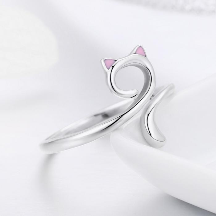 Inel reglabil argint 925 rodiat pisicuta cu urechiuse roz- Be Nature IST0049 4