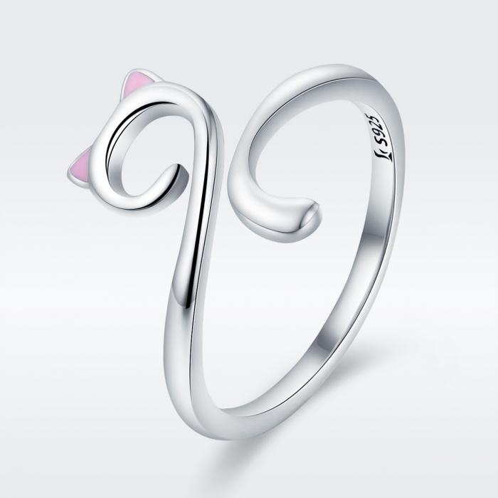Inel reglabil argint 925 rodiat pisicuta cu urechiuse roz- Be Nature IST0049 2