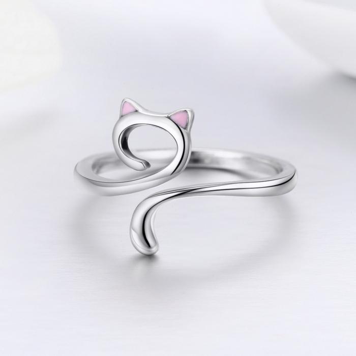 Inel reglabil argint 925 rodiat pisicuta cu urechiuse roz- Be Nature IST0049 1