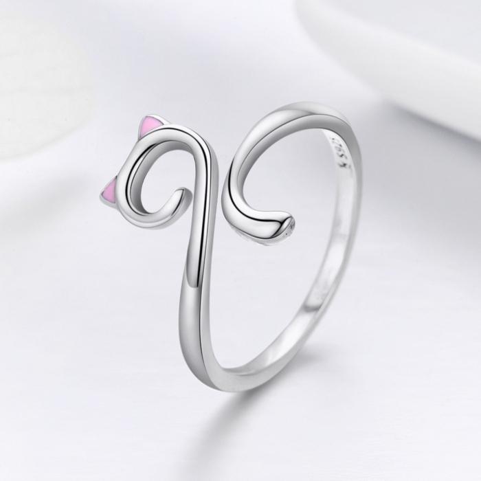 Inel reglabil argint 925 rodiat pisicuta cu urechiuse roz- Be Nature IST0049 3