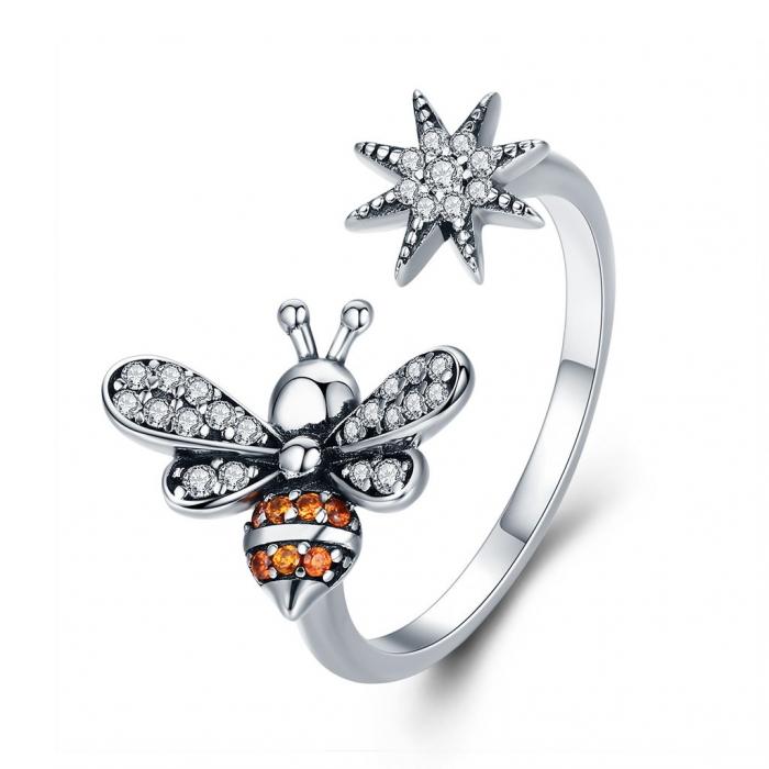Inel reglabil argint cu albinuta si floare 0